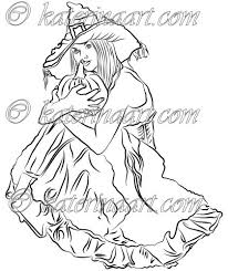 digital stamp halloween witch pumpkin printable coloring page