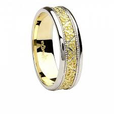 two tone wedding rings men s celtic knot two tone wedding ring