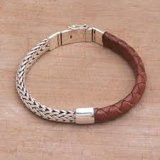 sterling silver leather bracelet images Combination brown leather and silver men 39 s bracelet halfway home jpg