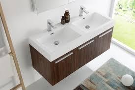 48 In Double Vanity Fresca Mezzo 48 Inch Walnut Wall Mounted Double Sink Modern