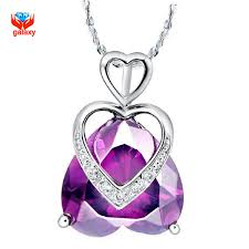 purple heart necklace images Galaxy trendy romantic 925 sterling silver purple heart crystal jpg