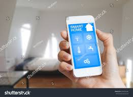 Home Interior App by Smart Home Automation App On Smartphone Stock Photo 350095346