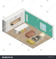 isometric floor plan illustration interior living room isometric view stock vector
