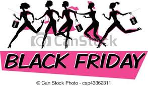 black friday artwork vector clip art of running woman silhouette with shopping bags