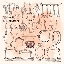 rustic kitchenware icons set u2014 stock vector schiva 102719100