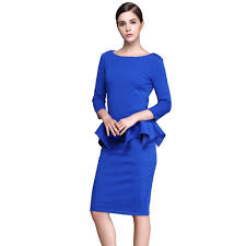 new blue women spring ruffles pencil dresses lady cocktail party