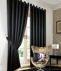 Black Curtains Bedroom Heavy Jacquard Black Eyelet Ring Top Lined Curtain Curtains