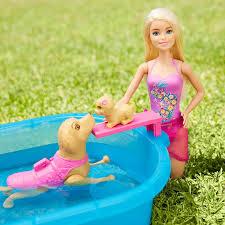 amazon com barbie swimmin u0027 pup pool set toys u0026 games