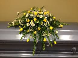 casket spray yellow and white casket spray wright flower company