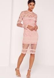 lace dress lace high neck midi dress pink missguided