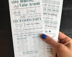 Custom Wedding Programs Custom Program Etsy