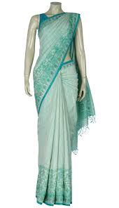 arong saree pastel green printed and embroidered silk saree