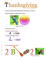 thanksgiving word work rebus puzzles to decode and encode tpt