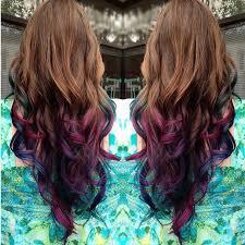 mermaid hair extensions brown to purple dip dye mermaid ombre indian remy clip in hair