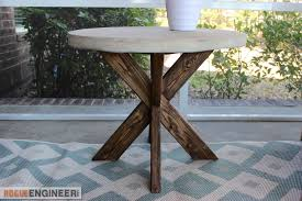 Free Simple End Table Plans by Diy X Brace Side Table W Concrete Top Free U0026 Easy Plans