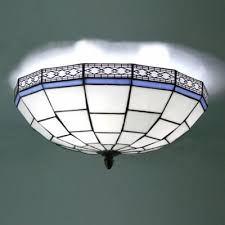 Flush Mounted Ceiling Lights by 16 Inch Blue And White Geometric Pattern Flush Mount Ceiling Light