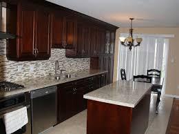 Granite Countertops With Cherry Cabinets Dark Cherry Coloured Custom Kitchen Cabinets With Granite