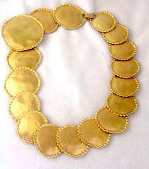 gold chunky necklace images Bernard new york signed chunky matte gold disc necklace jpg