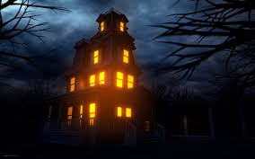 house creepy halloween haunted lights windows wallpaper at dark