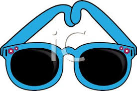 glasses clipart picture of a pair of blue sunglasses in a vector clip art