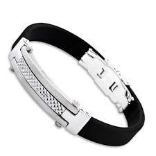 humanity bracelets bracelet homme en silicone noir et plaque en acier lotus style