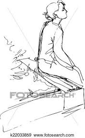 clip art of black and white sketch of a sitting on a park