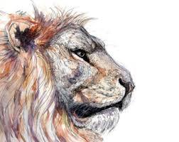 watercolor lion etsy