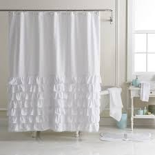 White Shower Curtains Fabric Lc Lauren Conrad Ella Ruffle Fabric Shower Curtain Urban Living