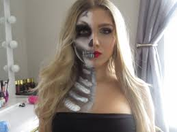 skeleton halloween make up halloween makeup look half glam half skull youtube