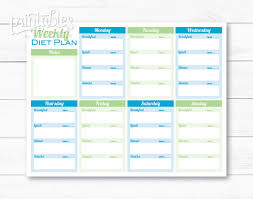Printable Meal Planner With Calorie Counter | weekly diet planner pdf meal planner template printable menu