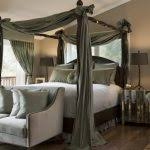 Forest Canopy Bed Stunning Transitional Bedroom Light Green Bed Curtains Features