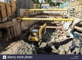 property redevelopment building site underground excavation stock