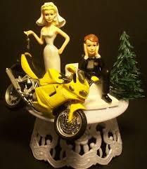 motorcycle wedding cake toppers wedding cakes yellow motorcycle wedding cake toppers