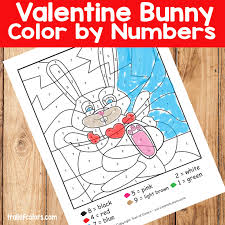 valentines day color by numbers bunny rabbit trail of colors