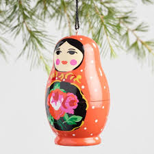 wood russian doll ornaments set of 3 world market