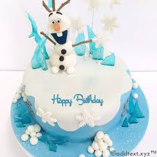 write name on frozen olaf birthday cake for girls add text photo