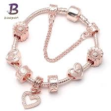 bracelet color crystal images Baopon fashion rose gold color crystal anchor charm bracelet for jpg