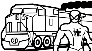 spiderman with train coloring pages for kids coloring book kids