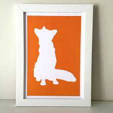 fox orange silhouette a4 print fox print children u0027s room