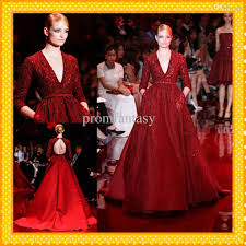 2014 elie saab red satin ball gown vintage evening formal dresses