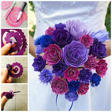 diy paper wedding bouquet and matching flower barrettes
