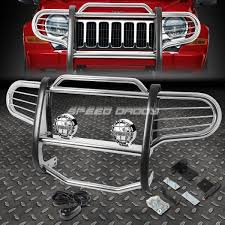 jeep front grill guard chrome brush grill guard round clear fog light for 02 07 jeep