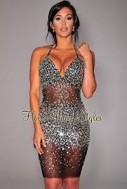 embellished dress black silver sequins embellished mesh dress