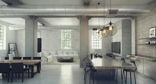 industrial modern design open space industrial interior design for large studio apartment