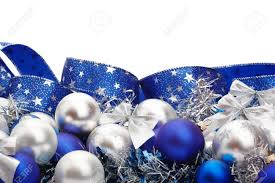 silver and blue decorations and tree adornments on