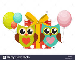 owl balloons owl happy birthday background with gift box balloons and p