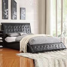 Leather Headboard Queen Bed by Baxton Stella Crystal Tufted Black Modern Bed With Upholstered