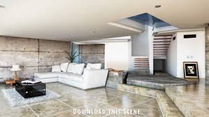 modern house mental interior render living room render in