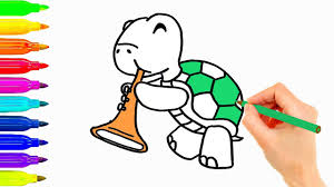 how to draw animals turtle playing music coloring pages for kids