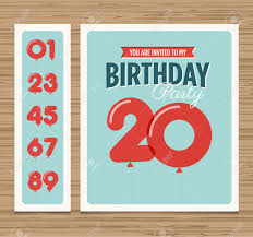 Party Invitation Card Design Birthday Party Invitation Card Balloons Numbers Vector Design
